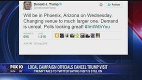 Trump cancels event in Phoenix, then tweets confirming event