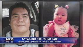 1-year-old girl found safe in Dilkon