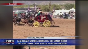 Horse-driven stagecoach slams into cars