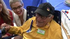 98-year-old veteran celebrates birthday at work
