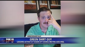 #GreenShirtGuy: Activist who laughed at Trump supporters during city council meeting goes viral