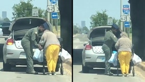 Oklahoma airman helps elderly woman take groceries home in viral video