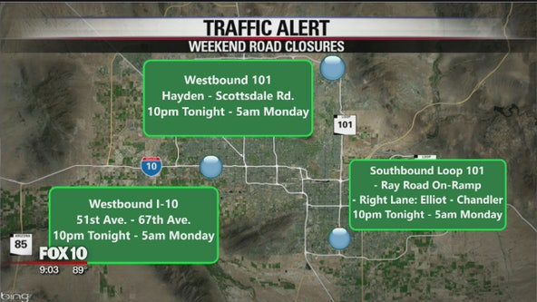 Weekend freeway closures scheduled for I-10, L-101, I-17