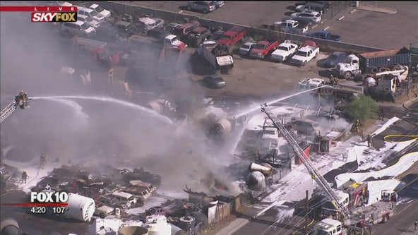 Fire ravages Phoenix scrap yard; heat placed additional strain on firefighters
