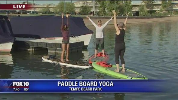 Paddle board yoga at Tempe Beach Park