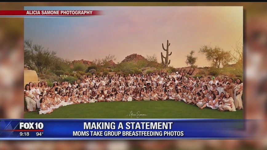 Valley moms take group breastfeeding photo