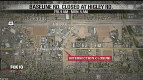 Baseline Road at Higley closed for improvement work