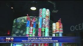 Trash art emphasizes conservation work at Odysea Aquarium