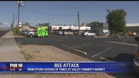 Mom stung dozens of times at farmer's market