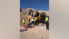 Mesa Fire: Man taken to hospital after dump truck overturned