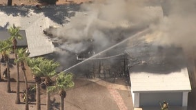 Firefighters battle fire at vacant home in Mesa