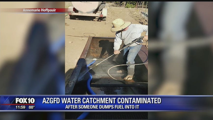 Arizona Game and Fish: Fuel deliberately poured into water basin used for wildlife