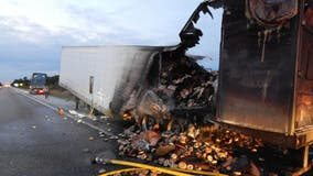 Truck carrying 38,000 lbs of frozen bagels catches fire on Indiana highway