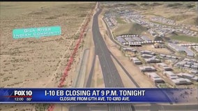Paving to close eastbound I-10 west of downtown Phoenix