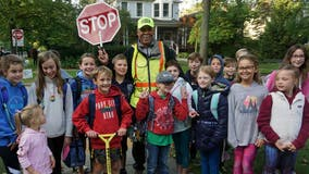 Community surprises crossing guard, known for putting smiles on kids' faces, for 80th birthday: 'I am blessed'