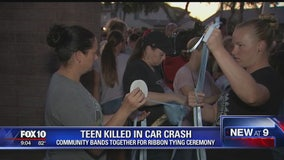 Community comes together for ribbon tying ceremony in honor of Gilbert teen killed in crash