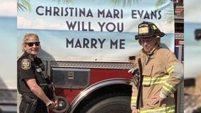 'Surprise of a lifetime': Firefighter surprises deputy responding to call with marriage proposal
