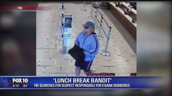 FBI searching for 'lunch break bandit' responsible for 9 bank robberies