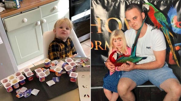 Girl, 3, eats 18 cups of yogurt after she was left unattended, dad's funny photo shows