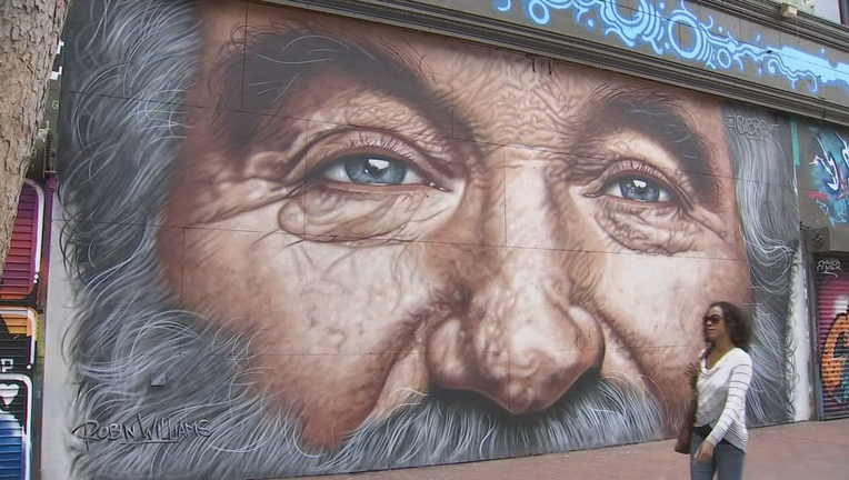 The mural of the late Robin Williams on Market Street between Sixth and Seventh streets is poised to be demolished this week, along with a 1907-era building that once housed a theater, billiards parlor and strip club. Oct. 20, 2019