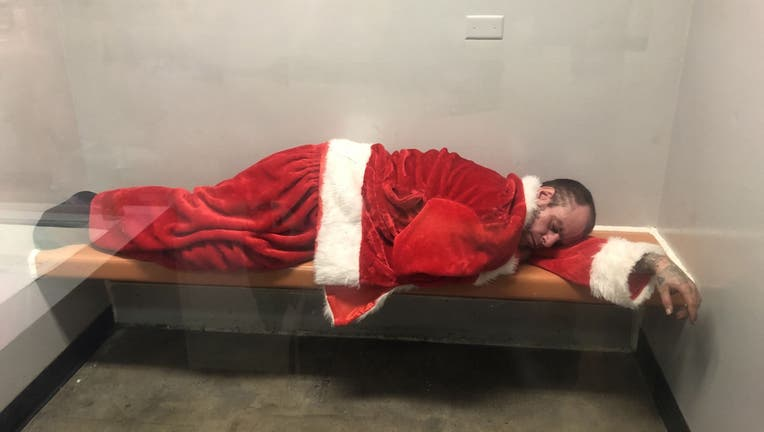 Brea Police arrested the festive man on Tuesday after they found him inside his car at around 7 a.m. (Brea Police Department)