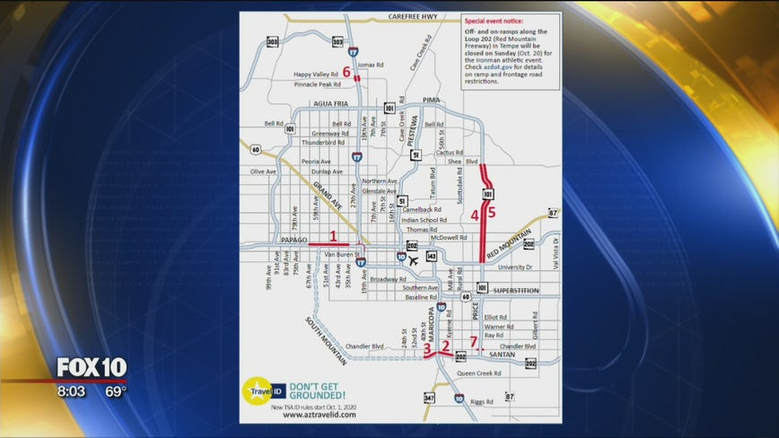 ADOT weekend freeway closures include I-10, Loops 101 and 202