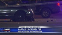 PD: 1 person extremely critical after car and motorized cart collide
