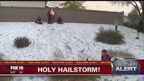 Hail turned some Valley neighborhoods into Winter Wonderland