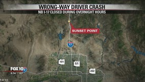 Multiple people injured in wrong-way crash on I-17 north of Phoenix