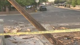 Car crashes into power pole, causes power outage in Phoenix neighborhood
