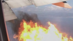 Plane departing LAX makes emergency landing after flames spew from engine