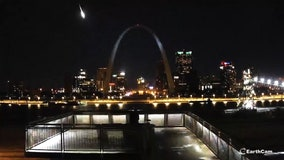 Meteor lights up the sky over the Gateway Arch in St. Louis