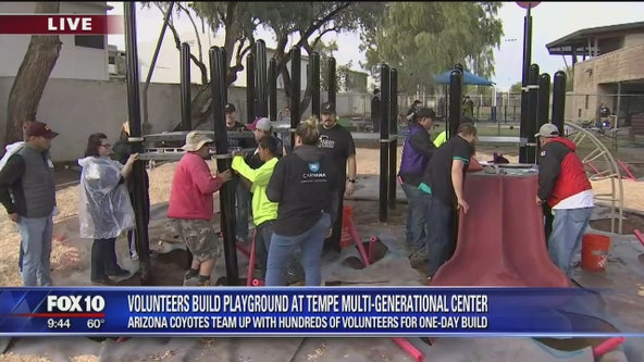 Arizona Coyotes team up with volunteers to build playground in Tempe
