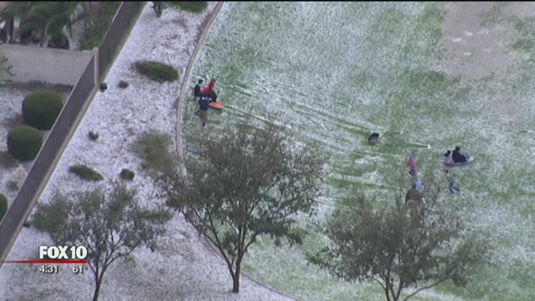 """Kids enjoying """"Winter Wonderland"""" after storm brought hail to parts of the Valley"""