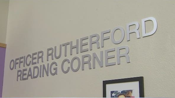Library dedicated to officer Paul Rutherford at Desert Horizon Elementary School