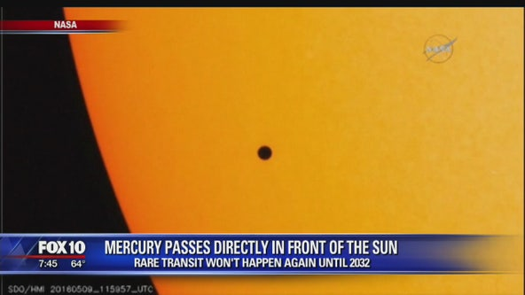 Mercury passes directly in front of the sun