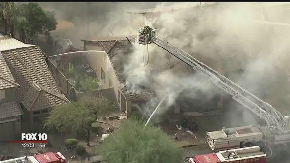 Firefighters battle 1st-alarm house fire in Chandler