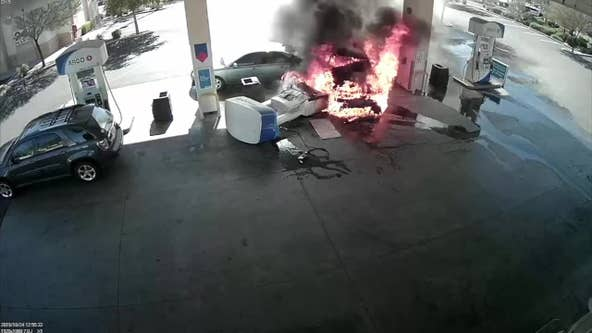 Surveillance video of fiery crash at Chandler gas station released