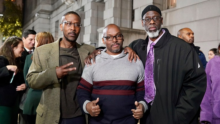 Pictured from left to right: Alfred Chestnut, Andrew Stewart, and Ransom Watkins after they were exonerated.