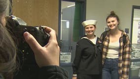 US Navy sailor surprises sister at Arizona high school for the holidays