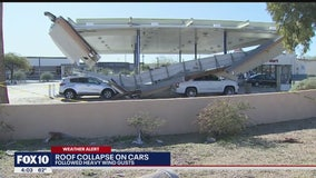 Over 1 week after severe storm, cars still trapped beneath roof at gas station