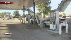 Cleanup efforts yet to begin at gas station that suffered partial roof collapse Monday