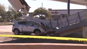 Cleanup efforts yet to begin at Glendale gas station that suffered partial roof collapse during storm