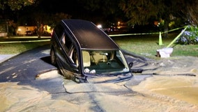 Minivan becomes submerged in hole in The Villages, Fire Chief confirms