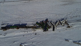 Freight train derails in Wyoming snow