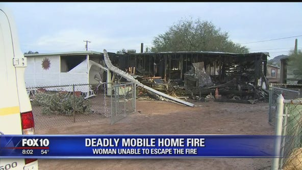 Woman dead in mobile home fire near Apache Junction