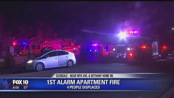 Firefighters battle 1st-alarm fire at Glendale apartments