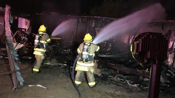 Woman dead in mobile home fire near Apache Junction