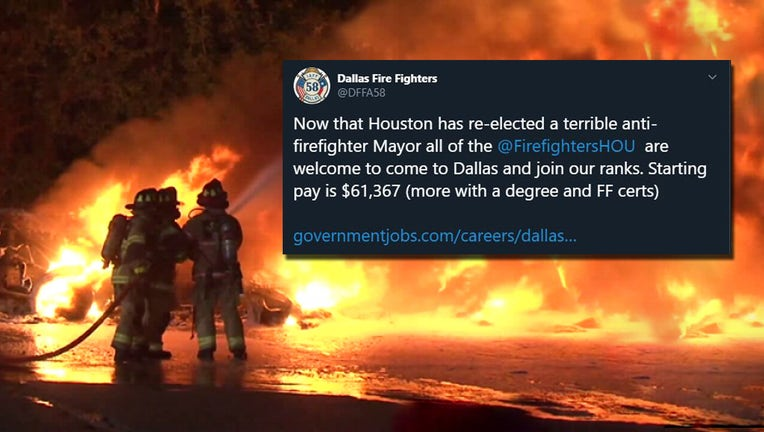 Dallas Fire Fighters Association tries to recruit Houston firefighters with tweet.
