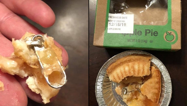 New York mom claims she her daughter nearly choked on a zipper found in a pie.